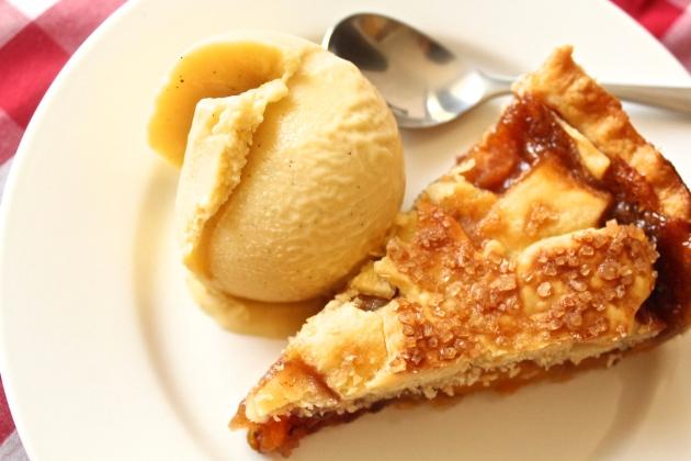 peach pie with peach pit ice cream